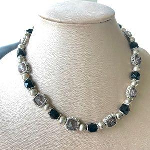 Jewelry - Black, Silver & Smoke Grey Necklace